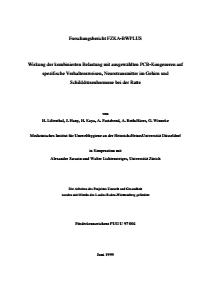 Bild der Titelseite der Publikation: Wirkung der kombinierten Belastung mit ausgewählten PCB-Kongeneren auf spezifische Verhaltensweisen, Neurotransmitter im Gehirn und Schilddrüsenhormone bei der Ratte Folgeprojekt