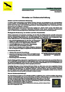 Bild der Titelseite der Publikation: Hinweise zur Grabenunterhaltung
