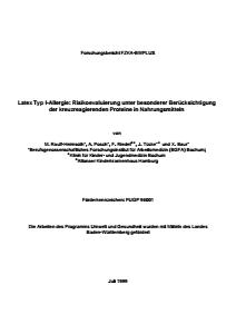 Bild der Titelseite der Publikation: Latex Typ I-Allergie: Risikoevaluierung unter besonderer Berücksichtigung der kreuzreagierenden Proteine in Nahrungsmitteln