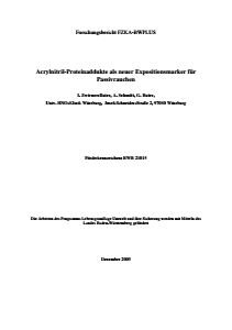 Bild der Titelseite der Publikation: Acrylnitril-Proteinaddukte als neuer Expositionsmarker für Passivrauchen
