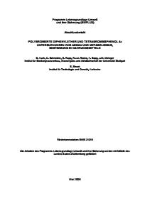 Bild der Titelseite der Publikation: Polybromierte Diphenylether und Tetrabrombisphenol A: Untersuchungen zum Abbau und Metabolismus, Bestimmung in Nahrungsmitteln