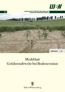 Bild der Titelseite der Publikation: Merkblatt Gefahrenabwehr bei Bodenerosion