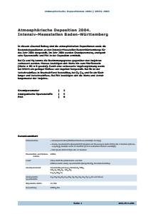 Bild der Titelseite der Publikation: Atmosphärische Deposition 2004. Intensiv-Messstellen Baden-Württemberg
