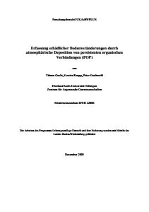 Bild der Titelseite der Publikation: Erfassung schädlicher Bodenveränderungen durch atmosphärische Deposition von persistenten organischen Verbindungen (POP)