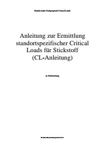 Bild der Titelseite der Publikation: Anleitung zur Ermittlung standortspezifischer Critical Loads für Stickstoff
