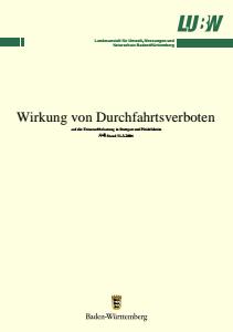 Bild der Titelseite der Publikation: Wirkung von Durchfahrtsverboten auf die Feinstaubbelastung PM10 in Stuttgart und Pleidelsheim