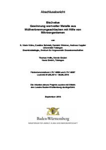 Bild der Titelseite der Publikation: Gewinnung wertvoller Metalle aus Müllverbrennungsschlacken mit Hilfe von Mikroorganismen