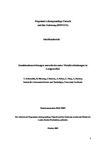Bild der Titelseite der Publikation: Kombinationswirkungen umweltrelevanter Metallverbindungen in Lungenzellen