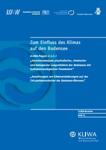 Bild der Titelseite der Publikation: Zum Einfluss des Klimas auf den Bodensee