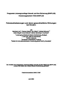 Bild der Titelseite der Publikation: Feinstaubbelastungen und deren gesundheitliche Wirkungen bei Kindern