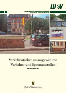 Bild der Titelseite der Publikation: Verkehrsstärken an ausgewählten Verkehrs- und Spotmessstellen. Auswertungen 2014