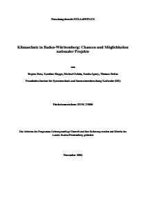 Bild der Titelseite der Publikation: Klimaschutz in Baden-Württemberg: Chancen und Möglichkeiten nationaler Projekte