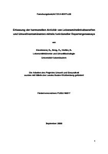 Bild der Titelseite der Publikation: Erfassung der hormonellen Aktivität von Lebensmittelinhaltsstoffen und Umweltkontaminanten mittels funktioneller Reportergenassays