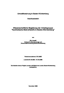 Bild der Titelseite der Publikation: Wissenschaftliche Begleitung der Arbeitsgruppe Synthetische Biokraftstoffe in Baden-Württemberg