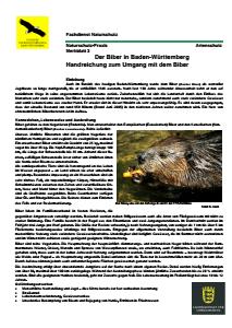 Bild der Titelseite der Publikation: Der Biber in Baden-Württemberg - Handreichung zum Umgang mit dem Biber