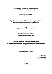 Bild der Titelseite der Publikation: Lachgas-Zersetzung bei der durch Platinmetalle katalysierten Stickoxid-Reduktion aus sauerstoffhaltigen Pkw-Motorabgasen