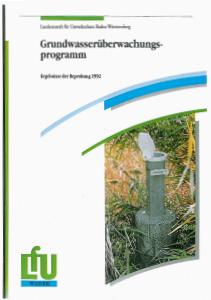 Bild der Titelseite der Publikation: Grundwasserüberwachungsprogramm. Ergebnisse der Beprobung 1992