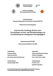 Bild der Titelseite der Publikation: Kriterien für Gestaltung, Betrieb sowie Unterhaltung von Stau- und Retentionsanlagen zur Gewährleistung der ökologischen Durchgängigkeit