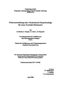 Bild der Titelseite der Publikation: Weiterentwicklung einer Niederdruck-Einspritzanlage für einen Zweitakt-Kleinmotor
