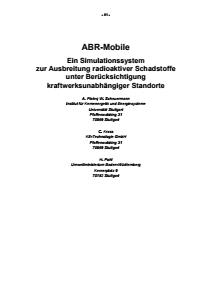 Bild der Titelseite der Publikation: ABR-Mobile - Ein Simulationssystem zur Ausbreitung radioaktiver Schadstoffe unter Berücksichtigung kraftwerksunabhängiger Standorte