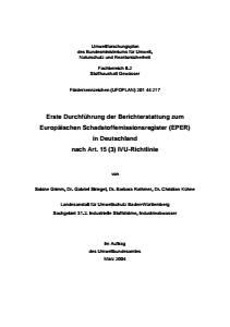 Bild der Titelseite der Publikation: Erste Durchführung der Berichterstattung zum Europäischen Schadstoffemissionsregister (EPER) in Deutschland