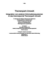 Bild der Titelseite der Publikation: Themenpark Umwelt - Integration von anderen Informationssystemen in das Internetportal Themenpark Umwelt