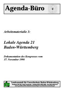 Bild der Titelseite der Publikation: Arbeitsmaterialie 003: Lokale Agenda 21 Baden-Württemberg