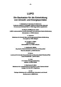 Bild der Titelseite der Publikation: LUPO - Ein Baukasten für die Entwicklung von Umwelt- und Energieportalen
