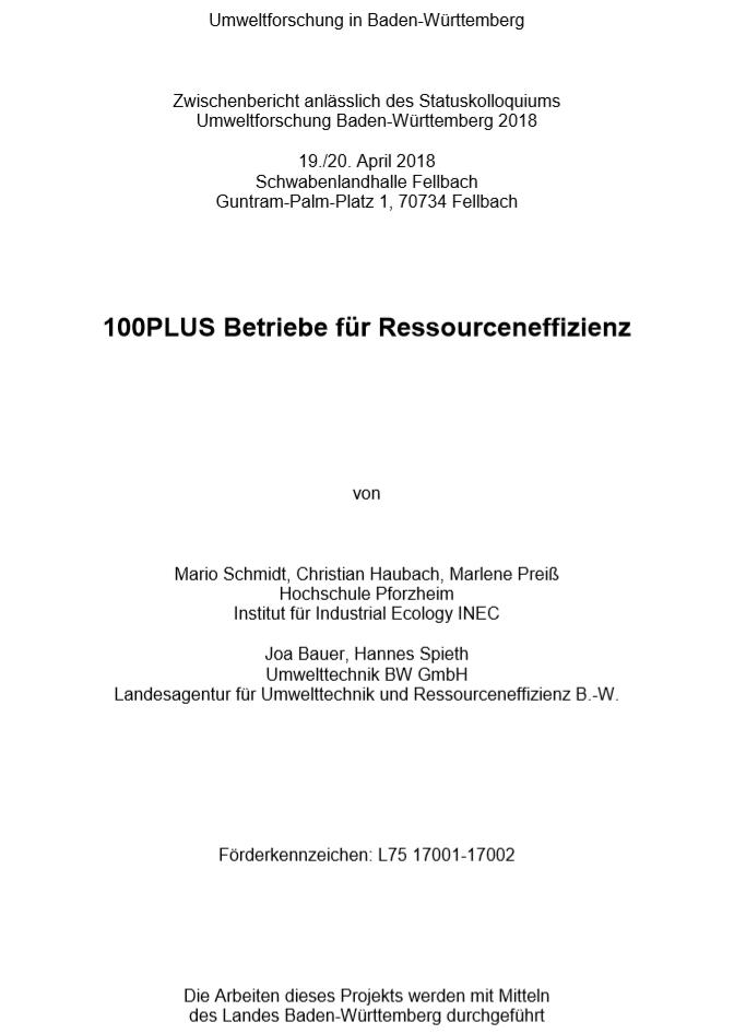 Bild der Titelseite der Publikation: 100PLUS Betriebe für Ressourceneffizienz