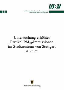 Bild der Titelseite der Publikation: Untersuchung erhöhter Partikel PM10-Immissionen im Stadtzentrum von Stuttgart