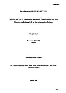 Bild der Titelseite der Publikation: Optimierung von Erkundungsstrategie und Qualitätssicherung beim Einsatz von Feldanalytik in der Altlastenbearbeitung