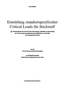 Bild der Titelseite der Publikation: Ermittlung standortspezifischer Critical Loads für Stickstoff - Dokumentation der Critical Limits und sonstiger Annahmen zur Berechnung der Critical Loads für bundesdeutsche FFH-Gebiete - Stand 2014