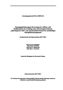 Bild der Titelseite der Publikation: Einzugsgebietsbezogene Bewertung der Abfluß- und Stoffdynamik als Grundlage eines Bewertungsverfahrens Hydrologische Güte zum operationellen Einsatz im nachhaltigen Flußgebietsmanagement