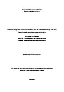 Bild der Titelseite der Publikation: Optimierung der Feuerungstechnik zur Wärmeerzeugung aus aufbereiteten Durchforstungsreststoffen