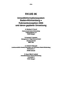 Bild der Titelseite der Publikation: RK UIS 06 - Umweltinformationssystem Baden-Württemberg - Rahmenkonzeption 2006 und deren geplante Umsetzung
