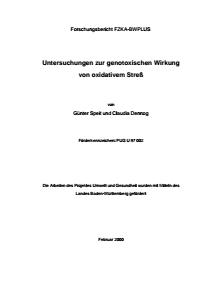 Bild der Titelseite der Publikation: Untersuchungen zur genotoxischen Wirkung von oxidativem Stress
