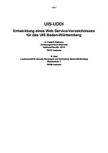Bild der Titelseite der Publikation: UIS-UDDI - Entwicklung eines Web Service-Verzeichnisses für das UIS Baden-Württemberg
