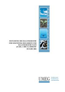 Bild der Titelseite der Publikation: Festlegung der Ballungsräume und Einstufung der Gebiete und Ballungsräume