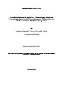 Bild der Titelseite der Publikation: Gesundheitseffekte durch inhalierbare Feinststäube aus technischen Verbrennungsanlagen: In vitro Untersuchungen zur Wirkung feiner und ultrafeiner Partikel auf kultivierte Lungenzellen