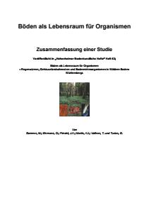 Bild der Titelseite der Publikation: Böden als Lebensraum für Organismen