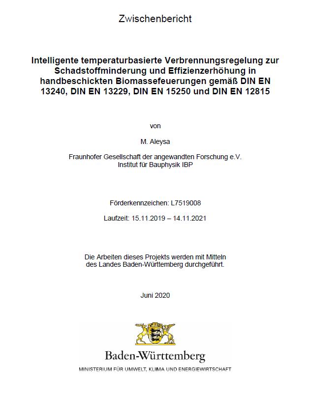 Bild der Titelseite der Publikation: Intelligente temperaturbasierte Verbrennungsregelung zur Schadstoffminderung und Effizienzerhöhung in handbeschickten Biomassefeuerungen gemäß DIN EN 13240, DIN EN 13229, DIN EN 15250 und DIN EN 12815