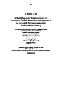 Bild der Titelseite der Publikation: FADO BW - Entwicklung der Basisversion für das neue Fachdokumentenmanagement im Umweltinformationssystem Baden-Württemberg