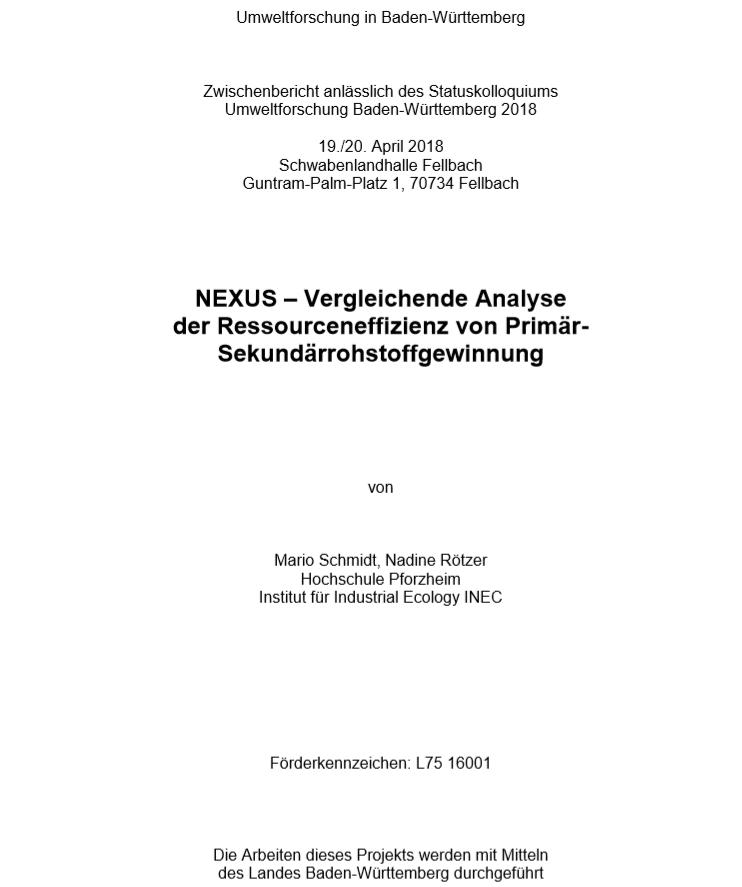 Bild der Titelseite der Publikation: NEXUS - Vergleichende Analyse der Ressourceneffizienz von Primär- Sekundärrohstoffgewinnung