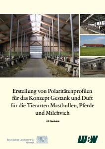 Bild der Titelseite der Publikation: Erstellung von Polaritätenprofilen für das Konzept Gestank und Duft für die Tierarten Mastbullen, Pferde und Milchvieh