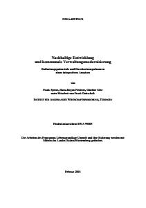Bild der Titelseite der Publikation: Nachhaltige Entwicklung und kommunale Verwaltungsmodernisierung Entlastungspotenziale und Durchsetzungschancen eines integrativen Ansatzes