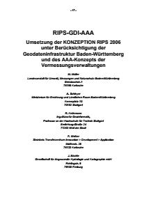 Bild der Titelseite der Publikation: RIPS-GDI-AAA - Umsetzung der KONZEPTION RIPS 2006 unter Berücksichtigung der Geodateninfrastruktur Baden-Württemberg und des AAA-Konzepts der Vermessungsverwaltungen