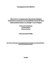 Bild der Titelseite der Publikation: Pilotversuch zur energiesparenden, ökonomischen Reinigung kontaminierten Grundwassers im innerstädtischen Bereich mit einem Dichtwand-Heber-Reaktor am Öl-Epple-Areal in Stuttgart