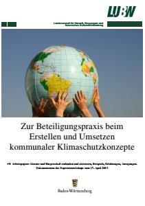 Bild der Titelseite der Publikation: Arbeitspapier: Zur Beteiligungspraxis beim Erstellen und Umsetzen kommunaler Klimaschutzkonzepte