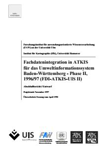 Bild der Titelseite der Publikation: Fachdatenintegration in ATKIS für das Umweltinformationssystem Baden-Württemberg - Abschlussbericht (Phase II)