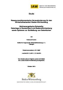 Bild der Titelseite der Publikation: Ressourcenökonomische Herausforderung für den Wirtschaftsstandort Baden-Württemberg